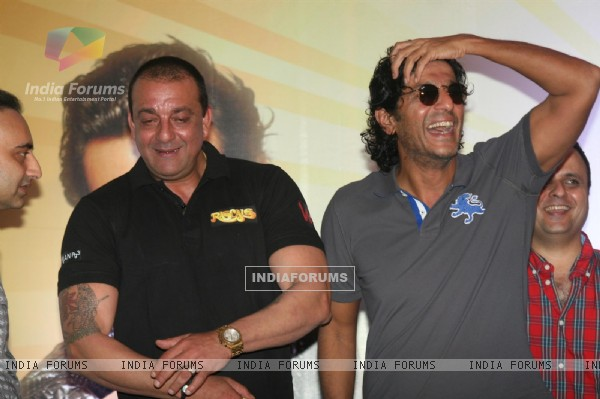 Sanjay Dutt and Chunky Pandey at Film 'Rascals' music launch at Hotel Leela in Mumbai
