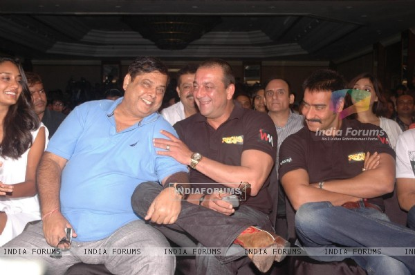 Sanjay Dutt, David Dhawan & Ajay Devgn at the press meet of the film Rascals