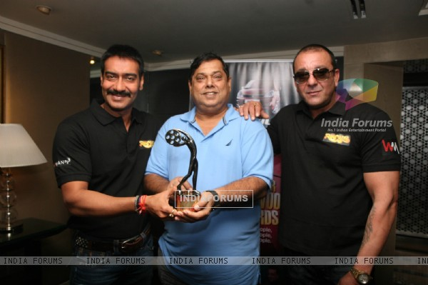 Ajay Devgn, Sanjay Dutt and David Dhawan at Film 'Rascals' unveil the Bhaskar Bollywood Awards