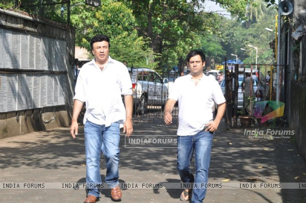 Anu Malik at Producer Surinder Kapoor funeral at Vile Parle in Mumbai