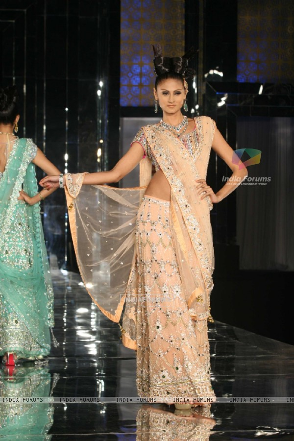 Model walks on the ramp for Neeta Lulla Show at India Bridal week 2011 Day 4 in Grand Hyatt, Mumbai