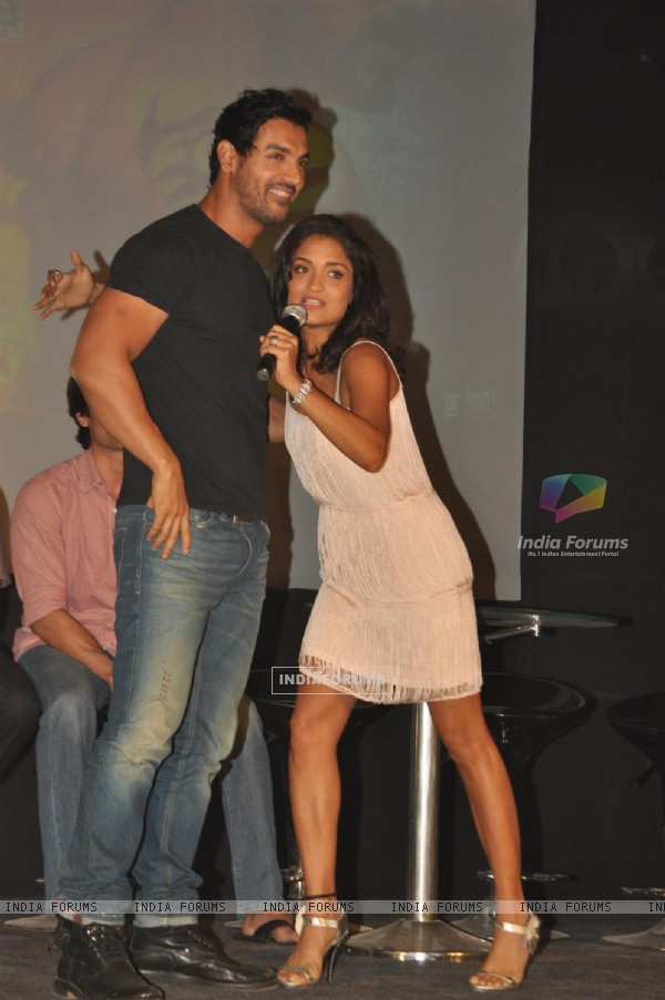John Abraham with Sandhya Mridul during the promotion of their film 'Force' in Mumbai (161272)