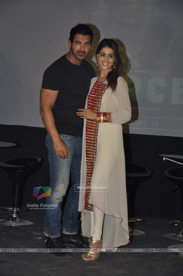 John Abraham and Genelia promote their film Force in Mehboob, Mumbai
