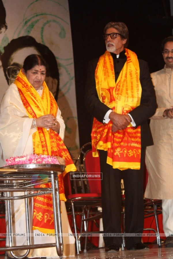 Amitabh Bachchan at Lata Mangeshkar birthday bash at Shanmukhanand Hall
