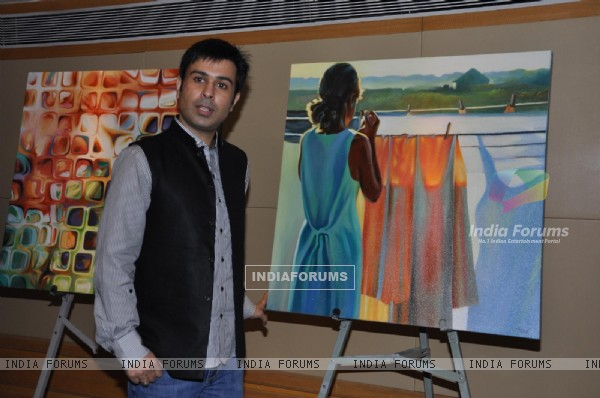 Chirag Paswan & Neeru Bajwa poses during an Art Exhibition at Vivanta by Taj in Mumbai
