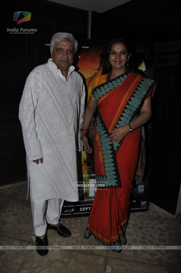 Javed Akhtar and Shabana Azmi at Success party of 'Force' movie