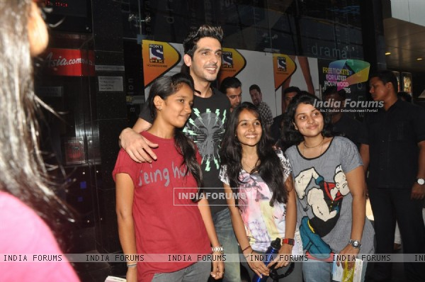 Zayed Khan with fans sales ticket of film 'Love Breakups Zindagi' at box office