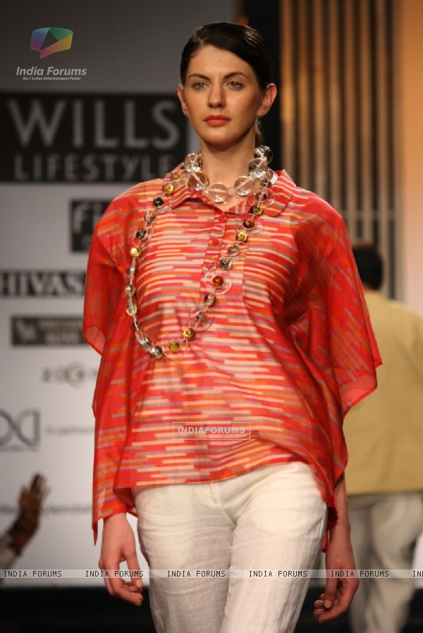 A Model showcasing designer Rajesh Pratap Singh's creation at the Wills Lifestyle India Fashion Week ,in New Delhi on Saturday. .