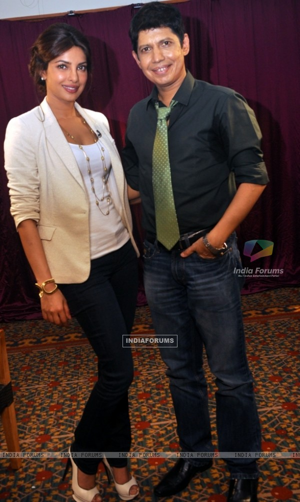 Priyanka Chopra with Omar Qureshi on Zoom