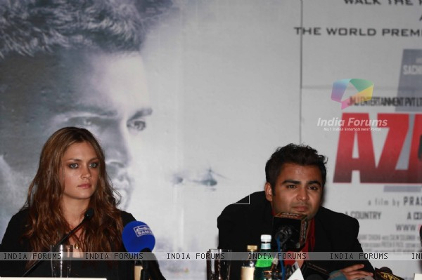 Sachin Joshi and Candice Boucher at Press Conference of film 'Aazaan'