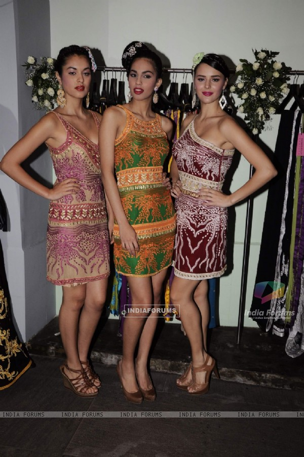 Models for the Azeem Khan's festive collection launch at Colaba