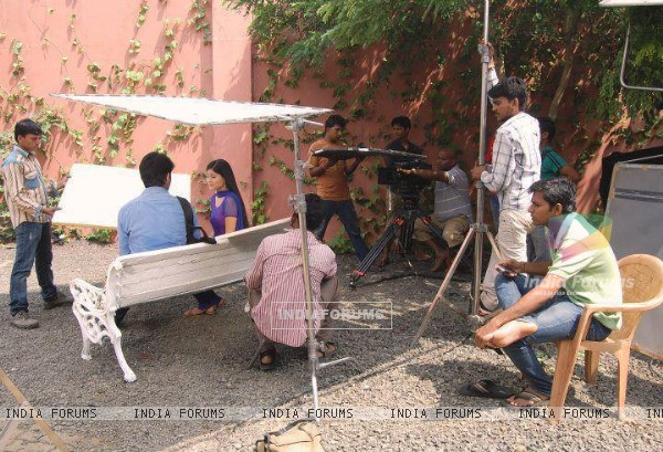 Soumya Seth and Shaheer Sheikh on the sets of Navya