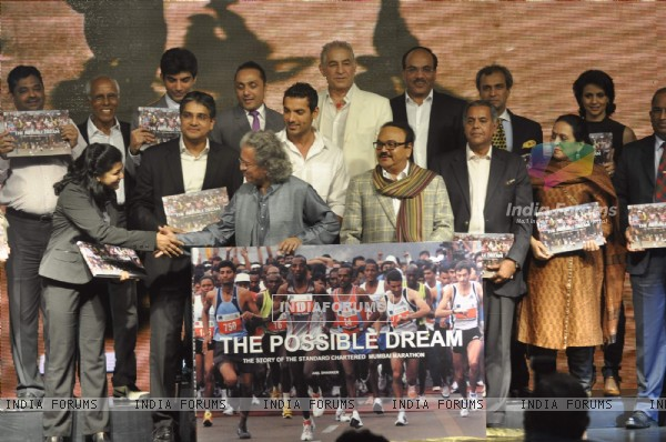 John, Rahul Bose, Dalip and Gul poses during the launch of book 'The Possible Dream' in Mumbai