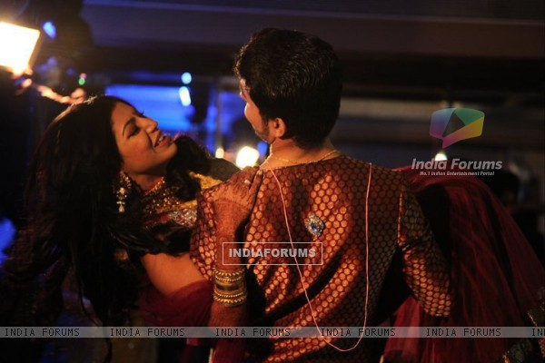 Debina & gurmeet in their reception party