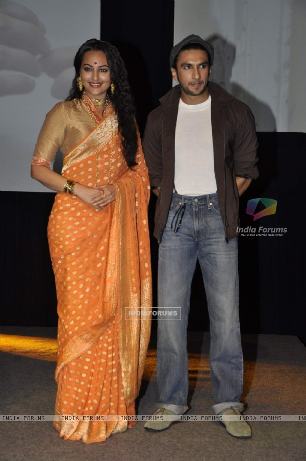 Ranveer Singh and Sonakshi Sinha at the launch of movie Lootera at Yashraj Studio in Mumbai
