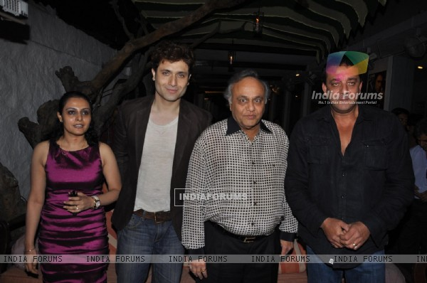 Sanjay Dutt with Shiney Ahuja and Bharat Shah launches film 'Ghost' music at Olive Kitchen and Bar at Bandra in Mumbai