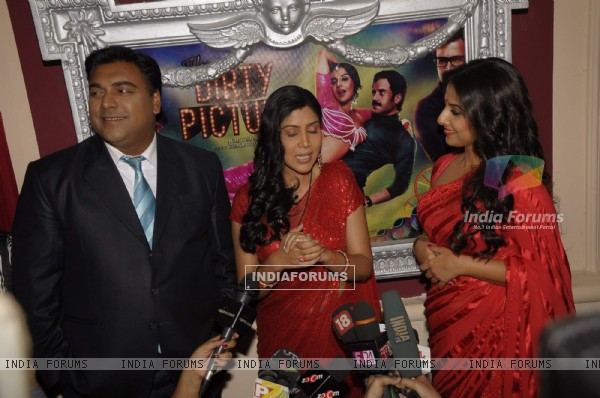 Ram Kapoor, Saakshi Tanwar and Vidya Balan on the sets of Bade Acche Laggte Hai at Filmcity in Mumba