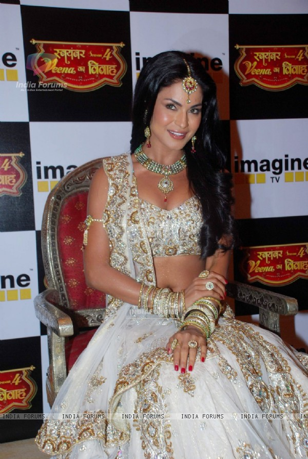 Pakistani actor Veena Malik during a press conference announcing the TV series 'Swayamvar'