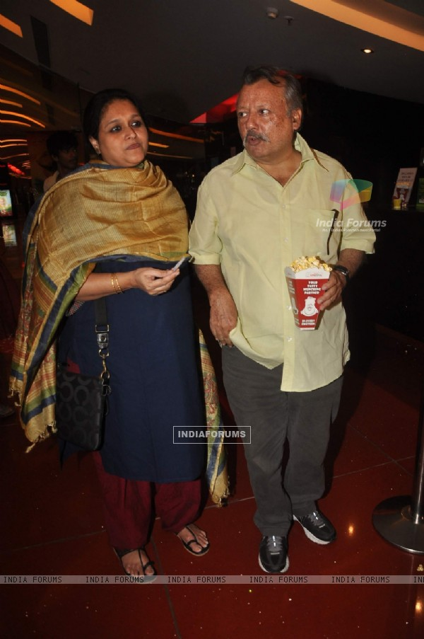 "Pankaj Kapoor with wife Supriya Pathak at the premiere of film ""Land Gold Women"" at Cinemax"