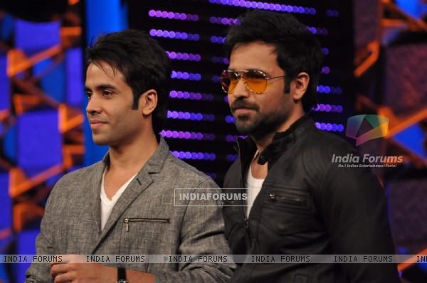 "Emraan Hashmi and Tusshar Kapoor on the set of ""Bigg Boss Season 5"" to promote film The Dirty Pictur"