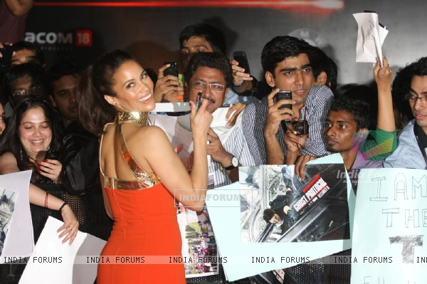 Paula Patton poses for a photo before a special screening of film Mission Impossible at IMAX Wadala