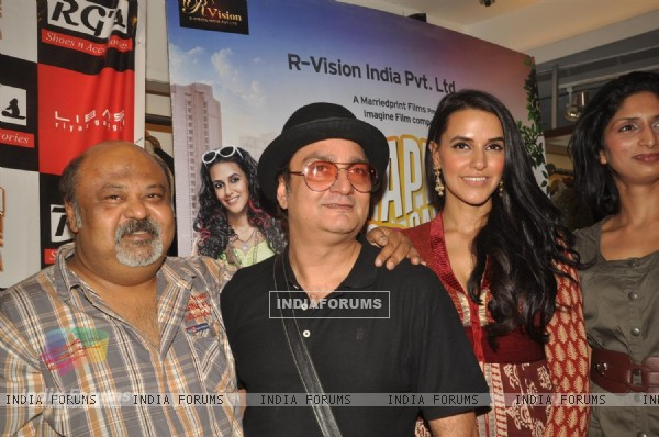 Saurabh Shukla with Vinay and Neha promote their film 'Pappu Can't Dance Saala' at Libas showroom