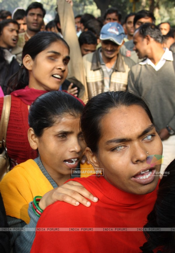 Unemployed educated blind youths demonstrating at Parliament Street for Government jobs,in New Delhi