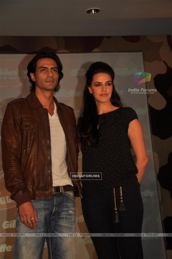 Arjun Rampal and Neha Dhupia at Gillette press meet at Trident