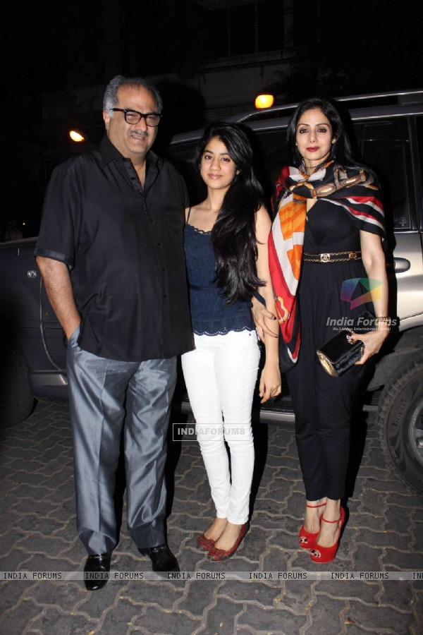 Boney Kapoor and Sridevi with daughter at Jacky Bhagnani's Birthday Party