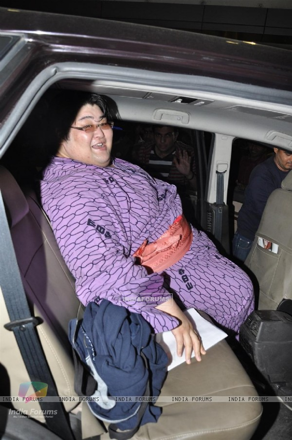 Japanese Sumo Wrestling Champion Yamamotoyama arrives from Japan at Mumbai International Airport to participate in Bigg Boss Season 5
