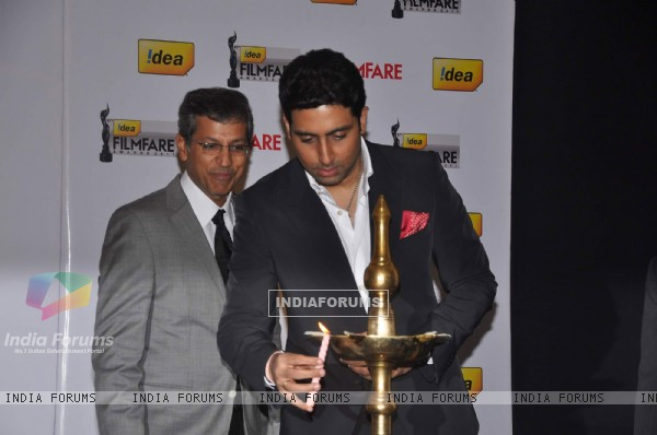 "Abhishek Bachchan attends the ""57th Idea Filmfare Awards 2011"" press conference in Mumbai"