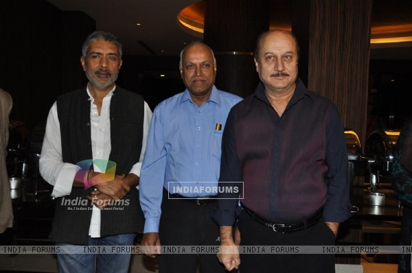 "Anupam Kher and Prakash Jha during the release of Kailash Kher's new album ""Kailasha Rangeele"""
