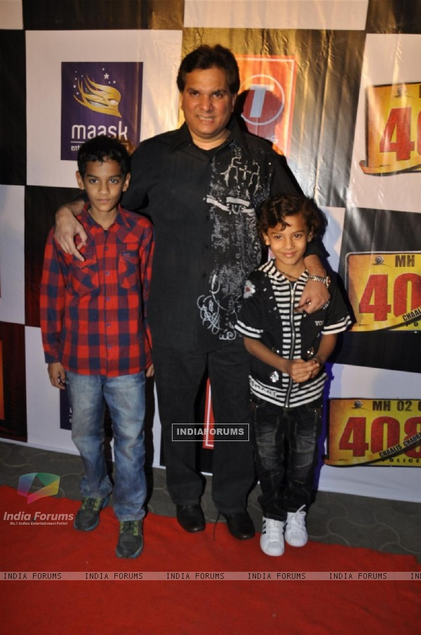 "Lalit Pandit with kids at Premiere of film ""Chaalis Chauraasi"" in Cinemax, Mumbai"