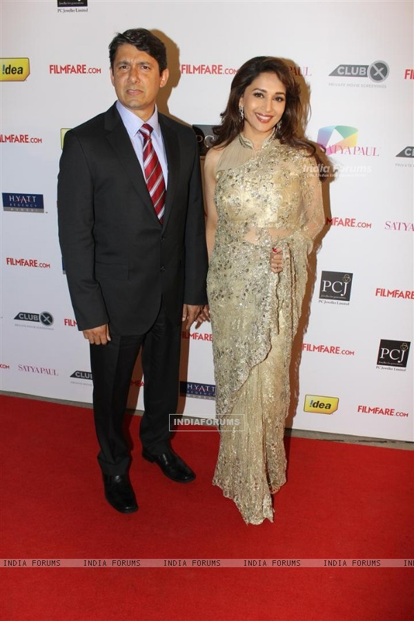 Madhuri Dixit with Hubby at 57th Filmfare Awards 2011 Nominations Party at Hotel Hyatt Regency