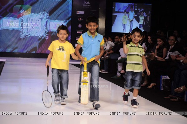 Kids walk on the ramp for JFK at India Kids Fashion Week day 1 in Mumbai