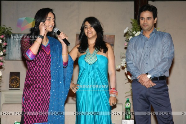 Ekta Kapoor with Mona and Pawan launches TV serial 'Kya Huaa Tera Vaada' on Sony TV at JW Marriott