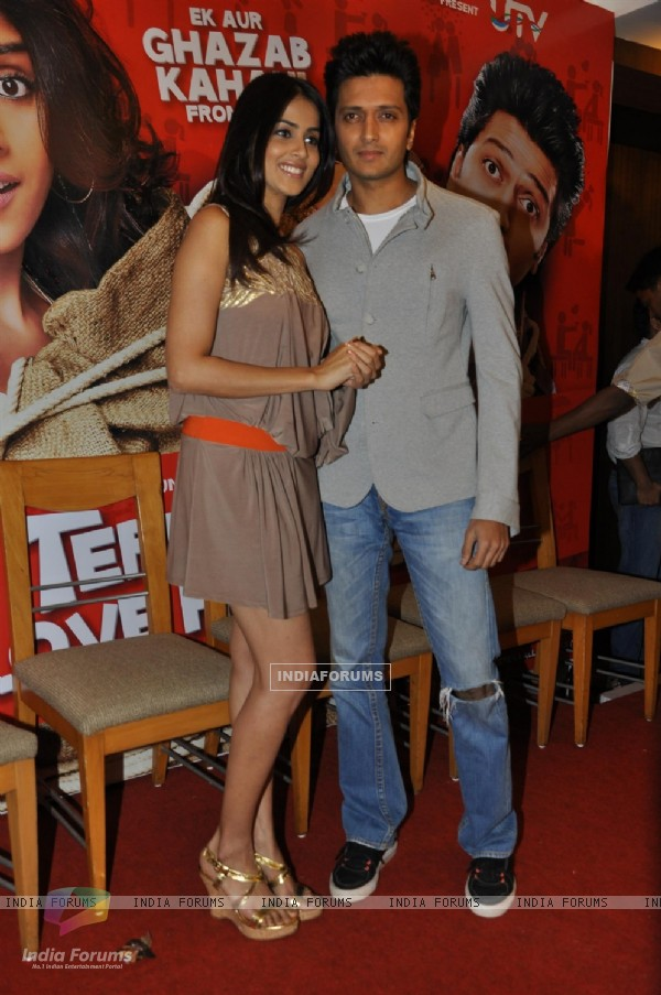 Genelia Dsouza during the music launch of film Tere Naam Love Ho Gaya in Mumbai (180365)