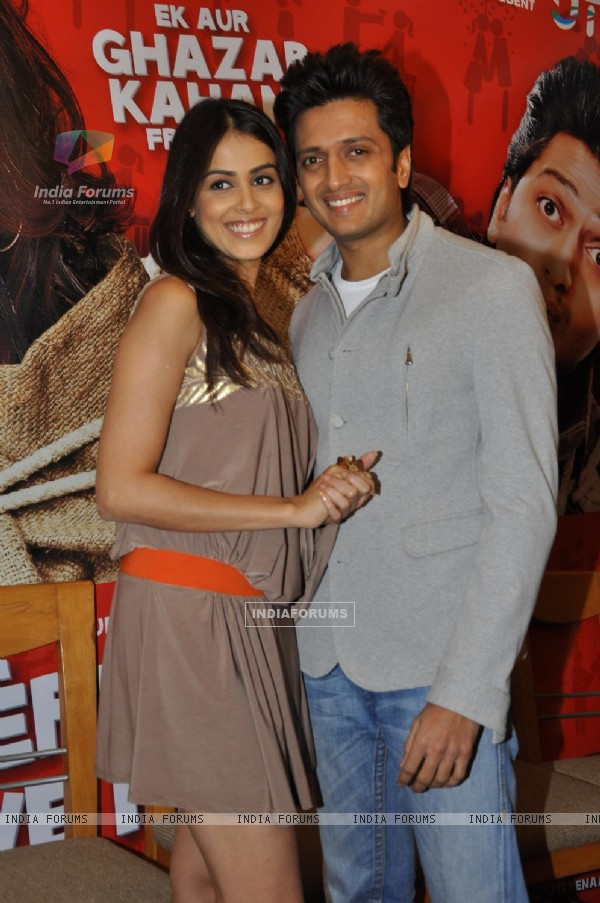 Ritesh Deshmukh & Genelia Dsouza during the music launch of film Tere Naam Love Ho Gaya in Mumbai (180366)
