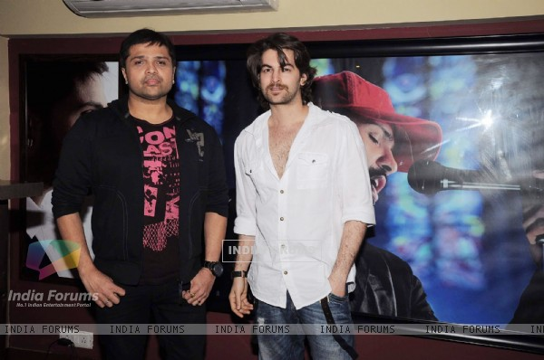 Himesh Reshammiya and Neil Nitin Mukesh record a song at MHADA