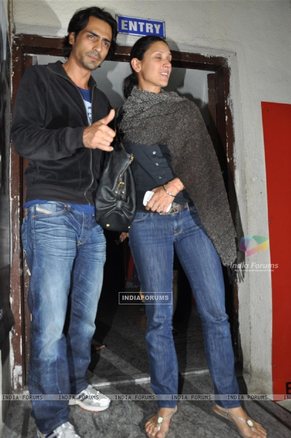 Arjun Rampal with wife at Special screening of the film 'Agneepath' at PVR Juhu in Mumbai