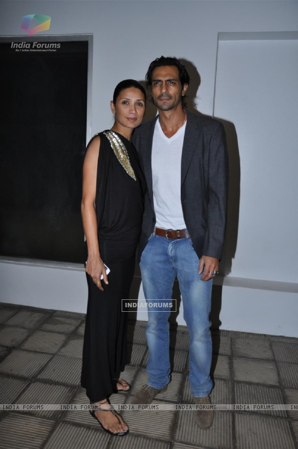 Arjun Rampal with wife grace Pre Wedding Bash of Ritesh Deshmukh & Genelia Dsouza in Mumbai