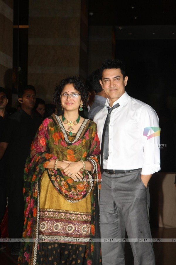 Aamir Khan with Kiran Rao grace Ritesh Deshmukh & Genelia Dsouza wedding reception in Mumbai