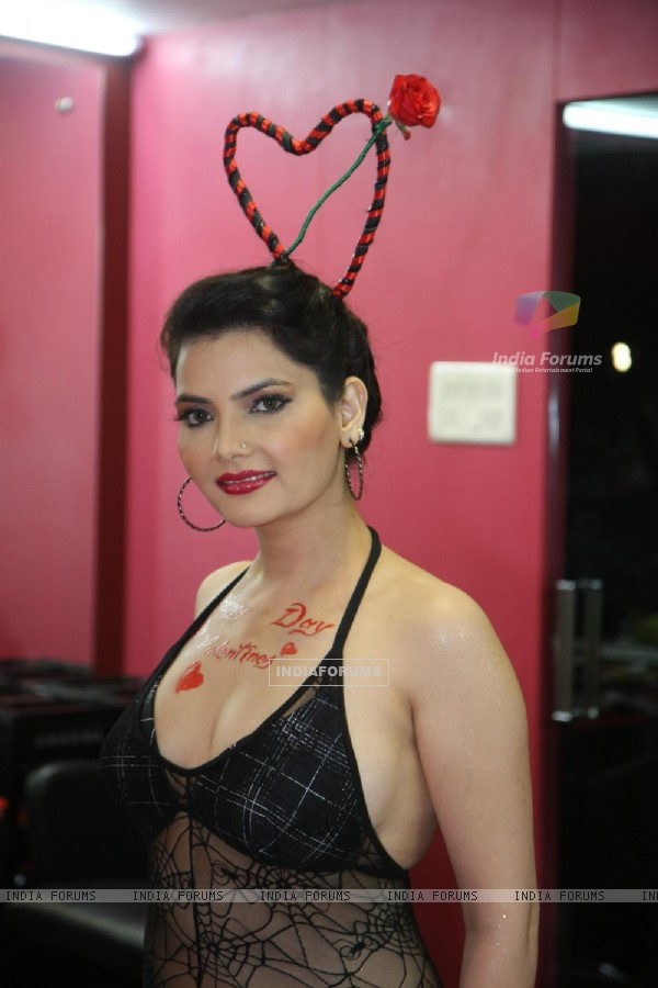 Indian Model cum Bollywood actress Madhavi Sharma in an Exclusive Special Valentine's Day theme bikini photo shoot at Shiva's Salon Academy in Andheri, Mumbai