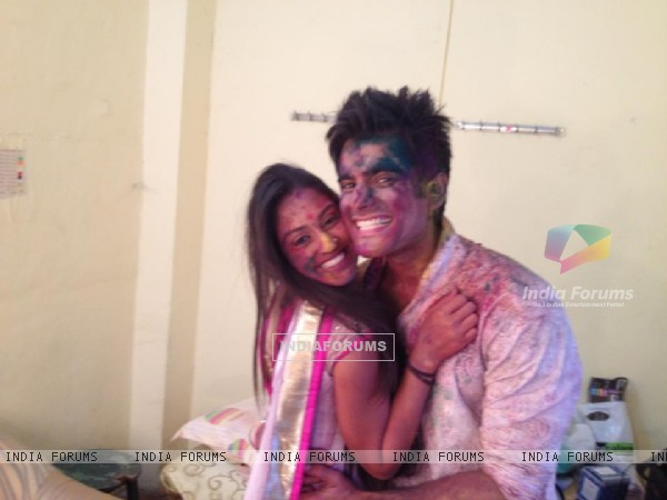 Karan Tacker and Krystle Dsouza celebrating Holi