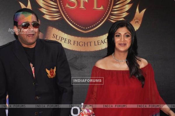 Sanjay Dutt and Shilpa Shetty at the inaugural Super Fight League