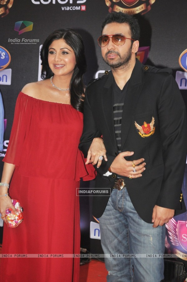 Shilpa Shetty and Raj Kundra at the inaugural Super Fight Leaguei