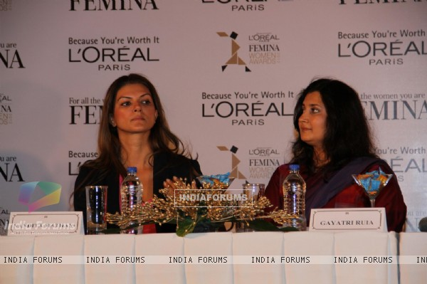 Sonam Kapoor gestures during the unveiling of trophy of Loreal Paris Femina Women Awards in Mumbai