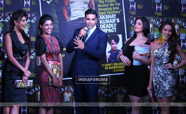 Akshay Kumar,Asin, Shazahn Padamsee, Zarine Khan and Jacqueline fernandez at the unveiling of cover page of latest issue of stardust magazine