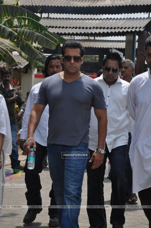 Salman Khan at Indian Bollywood Producer Mona Kapoor's funeral at Pawan Hans in Juhu, Mumbai