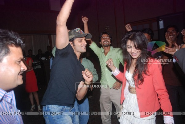 Karanvir Bohra and Sriti Jha at Saubhagyavati Bhava 100 Episode Success Party